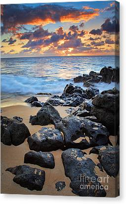 Sunset Beach Canvas Print by Inge Johnsson