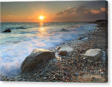 Sunset Beach Seascape Canvas Print by Katherine Gendreau