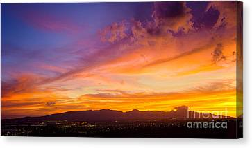 Sunset Behind The Wainae Mountain Range Canvas Print by Aloha Art