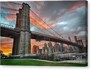 Sunset Brooklyn Bridge Canvas Print by Mark Gilman
