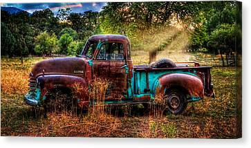 Sunset Chevy Pickup Canvas Print by Ken Smith