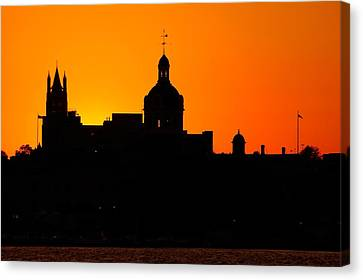 Sunset City Semi-silhouette Canvas Print by Paul Wash