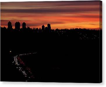 Sunset Commuters Canvas Print by Lisa Knechtel