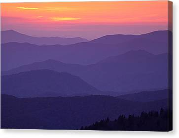 Sunset From Atop The Smokies Canvas Print by Andrew Soundarajan