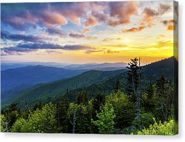 Sunset From Clingmans Dome Canvas Print by Anthony Heflin