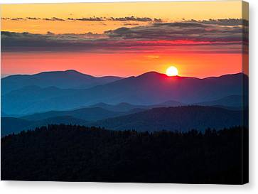 Sunset From Clingman's Dome - Great Smoky Mountains Canvas Print by Dave Allen