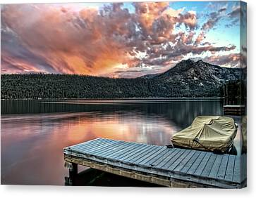 Sunset From Pier Canvas Print by Maria Coulson