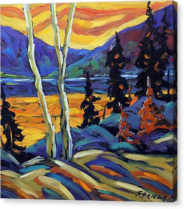 Sunset Geo Landscape Original Oil Painting By Prankearts Canvas Print by Richard T Pranke