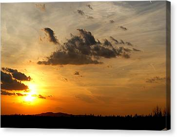 Sunset In Bavarian Forest Canvas Print by Adam  S