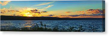 Sunset In Cayuga Lake Ithaca New York Panoramic Photography Canvas Print by Paul Ge