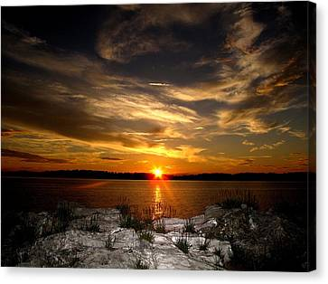 Sunset In Maine Canvas Print by Donnie Freeman