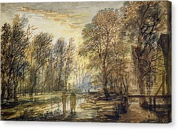 Sunset In The Wood Canvas Print by Aert van der Neer
