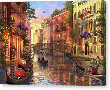 Sunset In Venice Canvas Print by Dominic Davison