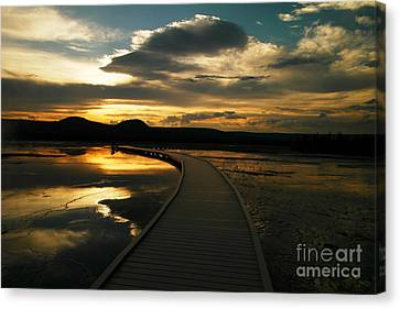 Sunset In Yellow Stone Canvas Print by Jeff Swan