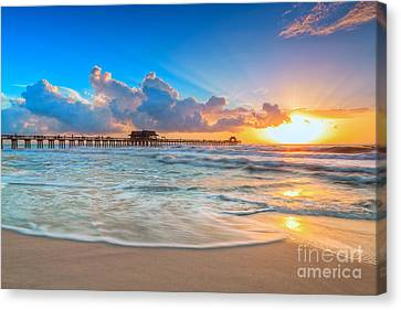 Sunset Naples Pier Canvas Print by Hans J Leschmann