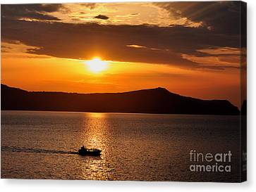 Sunset Off The Island Of Santorini Canvas Print by MaryJane Armstrong