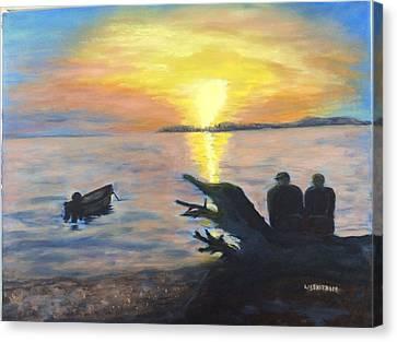 Sunset On Birch Bay Canvas Print by Liz  Ekstrom