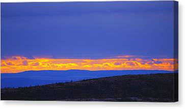 Sunset On Cadillac Mountain Acadia National Park Canvas Print by Paul Ge
