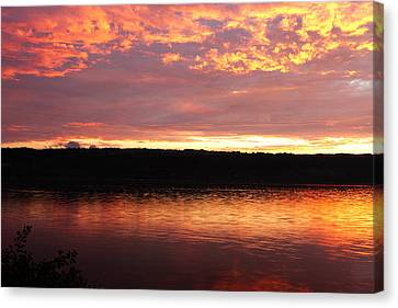 Sunset On Cayuga Lake Cornell Sailing Center Ithaca New York II Canvas Print by Paul Ge