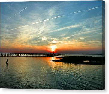 Sunset On Chincoteague Bay Canvas Print by Steven Ainsworth