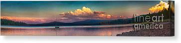 Sunset On Howard Prairie Lake Canvas Print by Omaste Witkowski