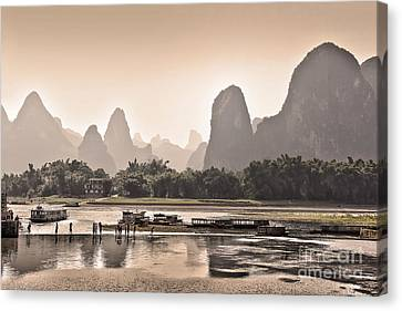Sunset On Li River Canvas Print by Delphimages Photo Creations