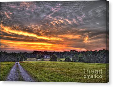 Take Me Home Sunset On Lick Skillet Road  Canvas Print by Reid Callaway