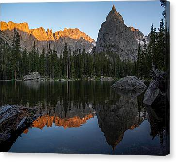 Sunset On Lone Eagle Peak Canvas Print by Aaron Spong