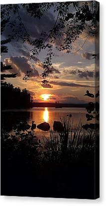 Sunset On Sebago 2 Canvas Print by Donnie Freeman