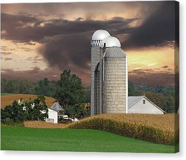 Sunset On The Farm Canvas Print by David Dehner