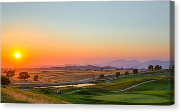 Sunset On The Greens Canvas Print by Mike Lee