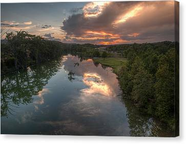 Sunset On The Guadalupe River Canvas Print by Paul Huchton