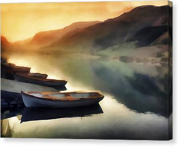 Sunset On The Lake Canvas Print by David Ridley