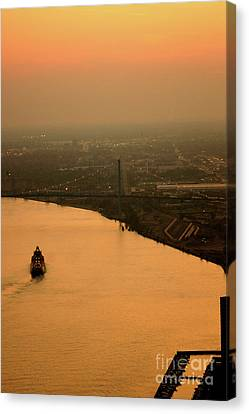 Sunset On The River Canvas Print by Linda Shafer