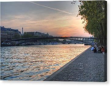 Sunset On The Seine Canvas Print by Jennifer Ancker
