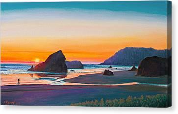 Sunset - Oregon Coast Canvas Print by Paul Krapf