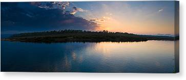 Sunset Over A Lake, Chitwan National Canvas Print by Panoramic Images