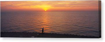 Sunset Over A Lake, Lake Michigan Canvas Print by Panoramic Images
