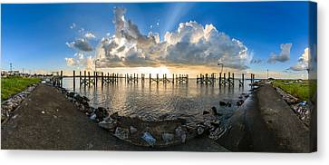 Sunset Over A Lake, Lake Pontchartrain Canvas Print by Panoramic Images