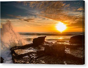 Sunset Over A Rough Sea I Canvas Print by Marco Oliveira
