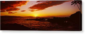 Sunset Over An Ocean, Oahu, Hawaii, Usa Canvas Print by Panoramic Images