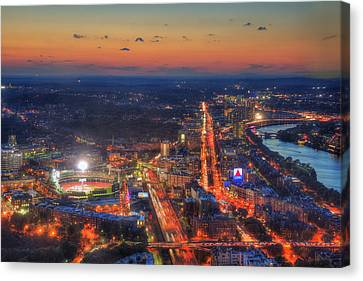 Sunset Over Fenway Park And The Citgo Sign Canvas Print by Joann Vitali
