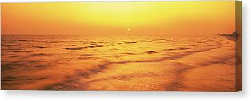 Sunset Over Gulf Of Mexico, Panama City Canvas Print by Panoramic Images