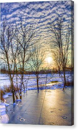 Sunset Over Ice Canvas Print by William Wetmore