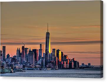 Sunset Over Lower Manhattan Canvas Print by F. M. Kearney