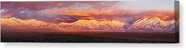 Sunset Over Mountain Range, Sangre De Canvas Print by Panoramic Images