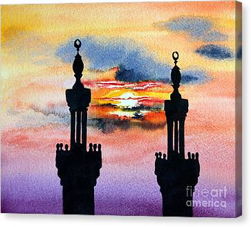 Sunset Over Port Said Canvas Print by Maria Barry