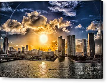 Sunset Over The Arena Hdr Canvas Print by Rene Triay Photography
