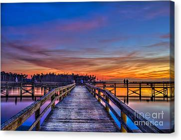 Sunset Pier Fishing Canvas Print by Marvin Spates