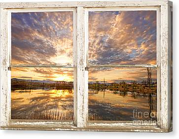 Sunset Reflections Golden Ponds 2 White Farm House Rustic Window Canvas Print by James BO  Insogna